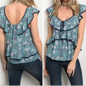 NWOT floral ruffle shirt